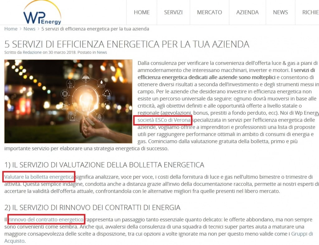 Esempi link interni da un post del blog - WpEnergy