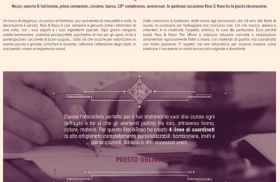 Testo in Home Page per il sito Riso & Raso